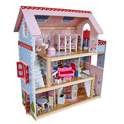 KidKraft 65054 Puppenhaus Chelsea aus Holz mit Möbeln und Zubehör, Spielset mit drei Spielebenen für...