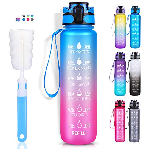 LEHOM Trinkflasche 1L, Wasserflasche Auslaufsicher, Sportflasche BPA-Frei, Tritan Fahrradflasche mit...