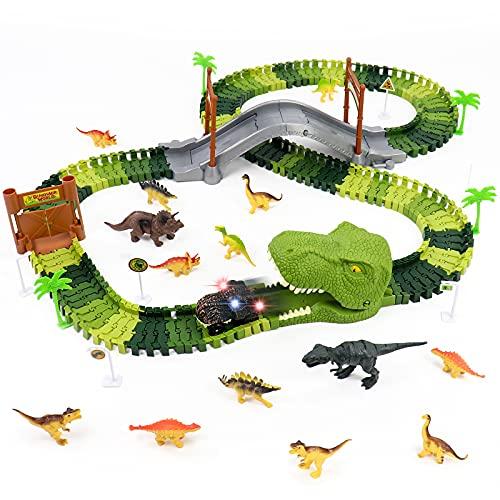 Rennbahn Autorennbahn Dinosaurier Spielzeug Dino Cars Spielzeug mit 14 Dinosaurier Kinderspielzeug Kinder...