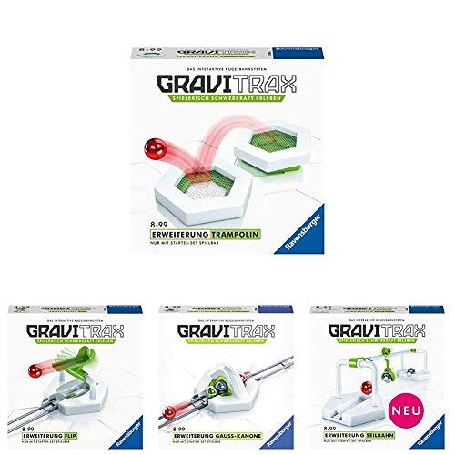 Ravensburger GraviTrax Erweiterungs-Bundle (4er Set) - Trampolin & Seilbahn & Action-Stein Flip & Gauss...