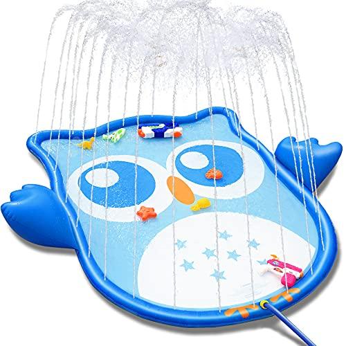 LETOMY Splash Pad, Eulenform Sprinkler Play Matte für Kinder, Aufblasbare 177-cm-Wasser-Spielmatte für...