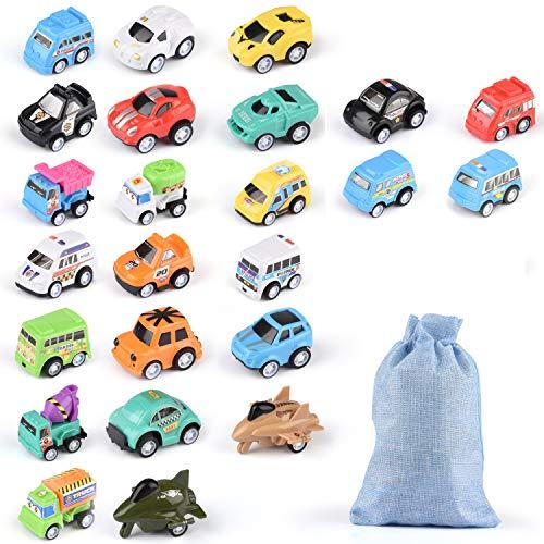 Herefun 24 Stück Auto Spielzeug Set, Mini Auto Zurückziehen Spielzeugautos mit Aufbewahrungstasche,...