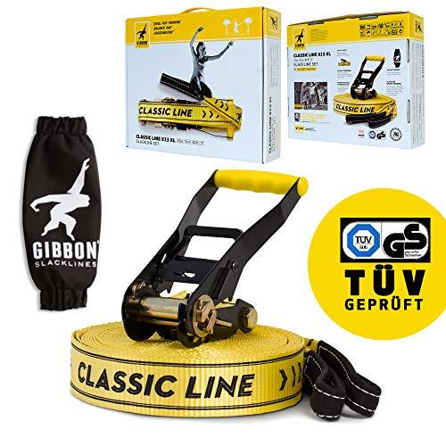 Gibbon Slacklines Classic Line, Gelb, 25 Meter, 22,5m Band + 2,5m Ratchendband, Anfänger, Beginner und...