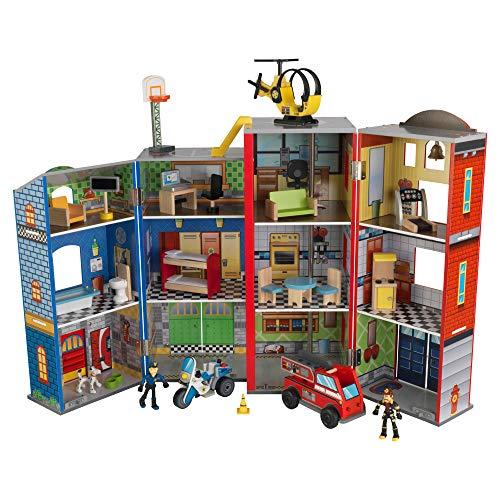 KidKraft 63239 Everyday Heroes Kinder-Spielset aus Holz mit Feuerwehrauto, Polizei, Hubschrauber und...