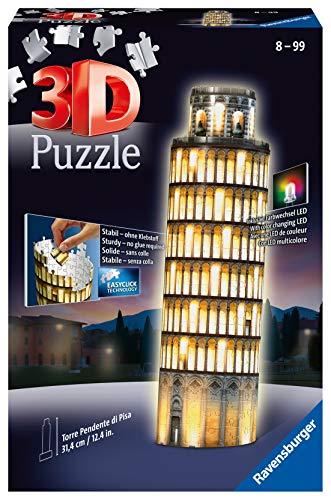 Ravensburger 3D Puzzle Schiefer Turm von Pisa bei Nacht, 3D Puzzle für Kinder und Erwachsene,...