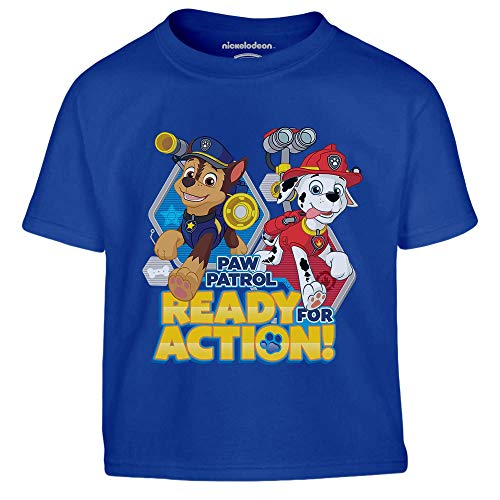 PAW PATROL - Ready for Action Chase und Marshall Kinder Jungen T-Shirt 128 Blau