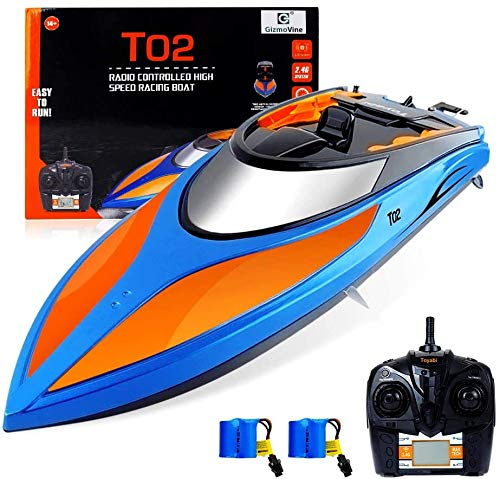 GizmoVine Ferngesteuertes Boot für Pools und Seen ,2.4 GHz 25KM / H Schnelle Renn-RC-Boote mit Alarm bei...