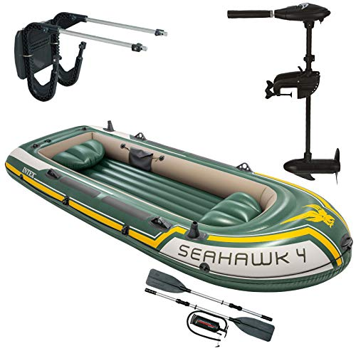 Intex Seahawk 4 inflatable boat with outboard motor + transom + paddle, pump set for 4 people ...