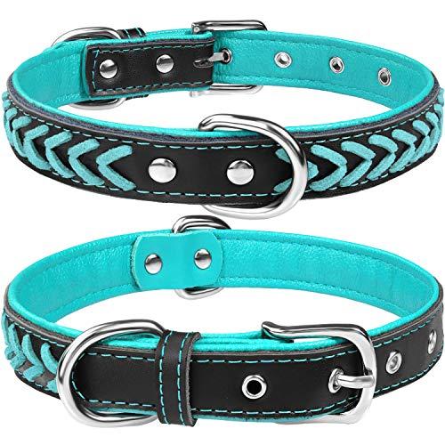 TagME Hundehalsband Leder für Mittlere Hunde,Geflochtenes, Weich Gepolstert Hundehalsbänder mit...