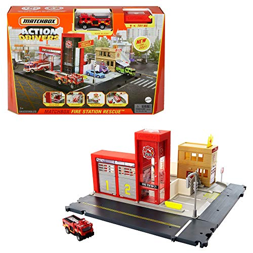 Matchbox HBD76 - Feuerwache Spielset, mit 1 Feuerwehrauto im Maßstab 1:64, Licht- und Soundeffekten und...