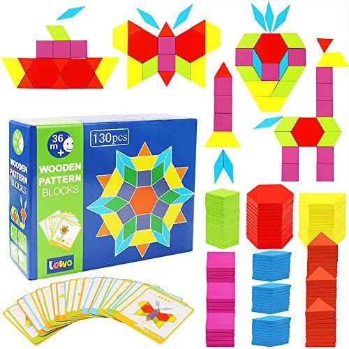 Lewo 130 Teilig Holzpuzzles Geometrische Formen Puzzle Bausteine Montessori Spielzeug Lernspielzeug Für...