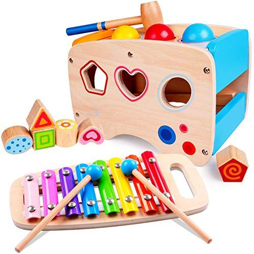 Lamlingo Hämmern Spiel,Xylophon-Musikspielzeug für Kleinkinder,Hölzerne Farb-und...