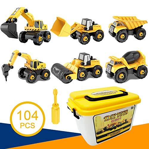 QMORE MontageLKW Spielzeug Große DIY 6-in-1 BAU Bohren Bagger Spielzeug mit Schraubendreher Werkzeug...