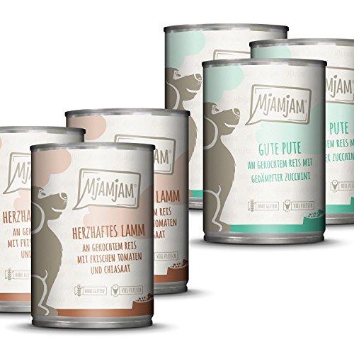 MjAMjAM - Premium Nassfutter für Hunde - Monopaket 1 - mit Lamm und Pute, 6er Pack (6 x 400 g),...