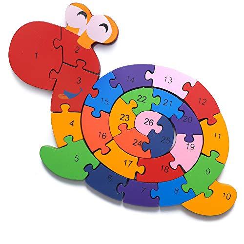 Schnecke Zahlenpuzzle Holzspielzeug   Zahlen und Buchstaben   Pädagogisches Spielzeug für klein-Kinder...