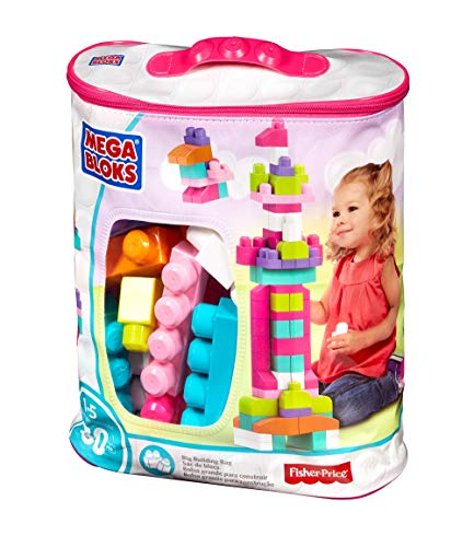 Mattel Mega Bloks First Builders DCH62 - Bausteinebeutel, groß 80 Teile, pink