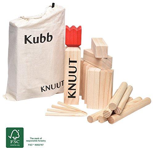 Toyfel Knuut Original Kubb Spiel XXL - FSC® Holzspiel mit Stoffbeutel – Wikingerspiel Outdoor Spiele...