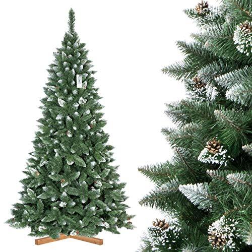 FAIRYTREES künstlicher Weihnachtsbaum Kiefer, Natur-Weiss beschneit, Material PVC, echte Tannenzapfen,...