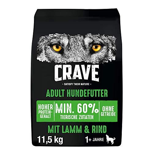 CRAVE Premium Trockenfutter mit Lamm & Rind für Hunde – Getreidefreies Adult Hundefutter mit hohem...
