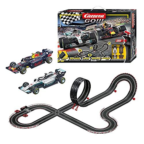 Carrera GO!!! Max Speed Rennstrecken-Set | 6,3m elektrische Rennbahn mit Mercedes-AMG F1 W09 EQ Power+ &...