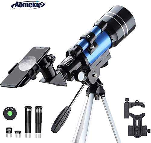 Aomekie Teleskop f/ür Kinder Einsteiger 50//600 Telescope Astronomy mit Ausziehbares Aluminium Stativ und Suchfernrohr