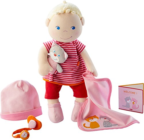 HABA - 303724 - Babypuppe Jule | Stoffpuppe zum Kuscheln und Spielen mit Zubehör | Puppe mit Mütze,...