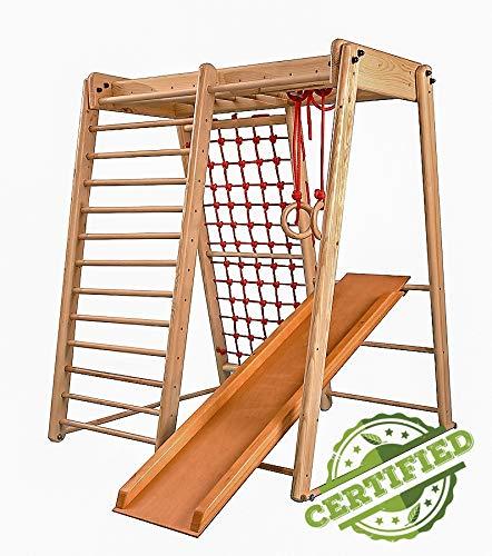 Kinder zu Hause aus Holz Spielplatz mit Rutschbahn ˝Malček-3˝ Kletternetz Ringe Kletterwand...