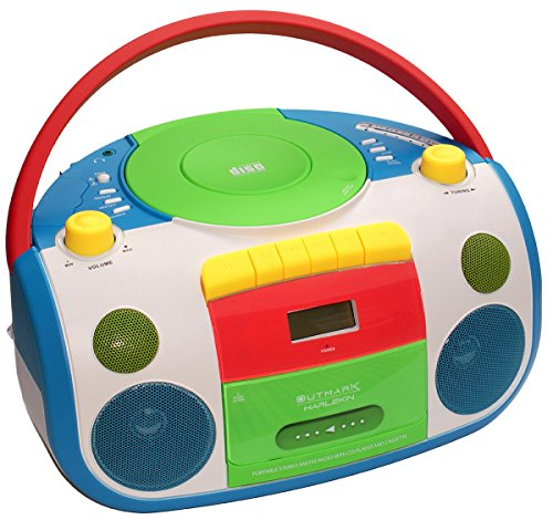 HARLEKIN TRAGBARER Kinder Radio-Kassetten-CD Player I STEREOANLAGE I Boombox I Weiss GRÜN BLAU ROT GELB...