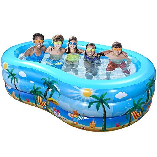 iBaseToy Aufblasbare Pool, 240 x 150 x 60 cm Groß Planschbecken für Kinder Erwachsene Baby, Family Pool...