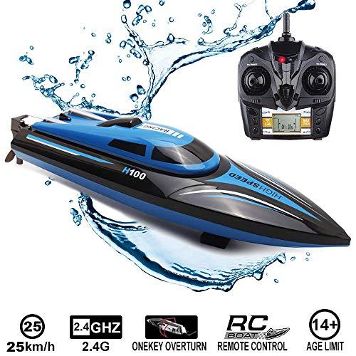 RC Boot Ferngesteuertes Boot, 2,4 GHz 25 km/h 4-Kanal Hochgeschwindigkeits RC Schnellboot Rennboot für...