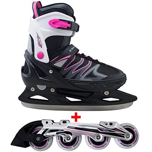 Cox Swain 2 in 1 Kinder Skates-/Schlittschuh -Joy- LED Leuchtrollen, ABEC 7 Carbon Lager, Schwarz/Pink, S...