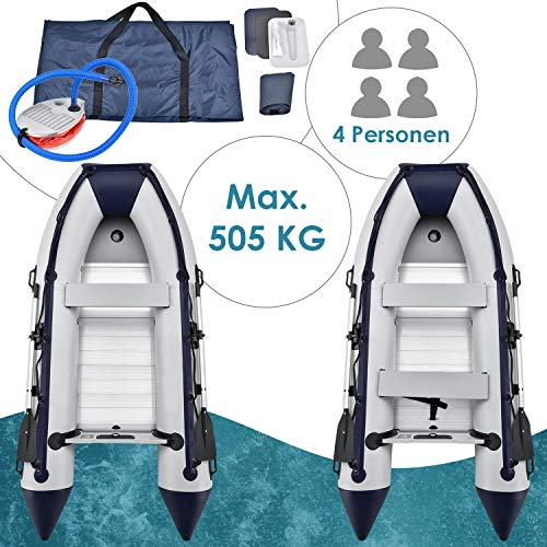 ArtSport inflatable boat gray with aluminum floor - inflatable - for 4 people - 3.20 meters - paddle boat ...
