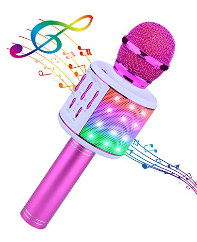 ShinePick Karaoke Mikrofon, Bluetooth Mikrofon Kinder, 4 in 1 Drahtloses Tragbares Microphon mit...