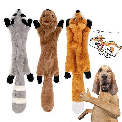 YAMI 3 Pack Hund Quietschende Kauen Spielzeug Keine Füllung Hund Spielzeug Plüsch Tier Hundespielzeug...