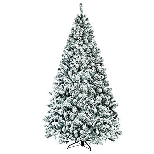 COSTWAY 180/225cm Künstlicher Weihnachtsbaum mit Schnee, Tannenbaum mit Metallständer, Christbaum PVC...
