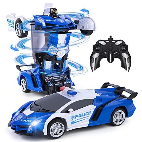 Vubkkty Roboter Spielzeug für Kinder , 2 in 1 Fernbedienung Transformator RC Auto, 1:18 Scale Transform...