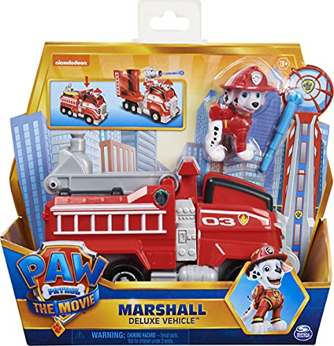 Paw Patrol Marshalls Deluxe Basis Fahrzeug aus dem Kinofilm mit Hundefigur, Spielzeugauto, ab 3 Jahren