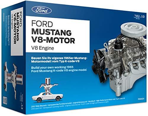 FRANZIS Ford Mustang V8-Motor |  200-Teile Bausatz - transparentes, voll funktionsfähiges Motormodell...