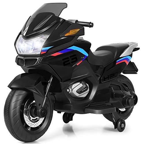 COSTWAY 12V Elektro Polizei Motorrad mit LED Scheinwerfer, Musik, Pedal, Vor- und Rückwärtsgang,...