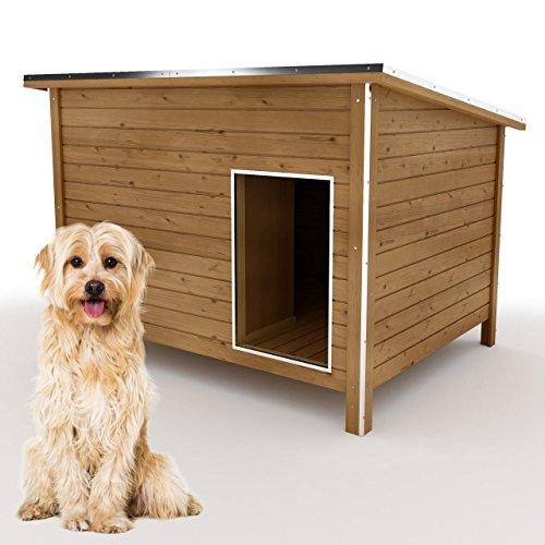 happypet® Hundehütte L oder XL - Hundehütte in L-Format, Echtholz-Hütte DK120-2 wetterfest, isoliert,...