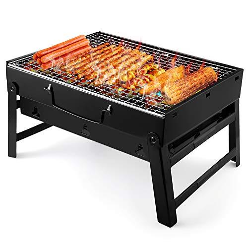 UTTORA Grill, Tragbarer Gefalteter Holzkohlegrill Tisch Outdoor Edelstahl Rauch BBQ für Picknick Garten...