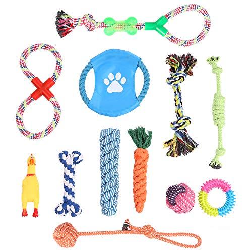 WELLGRO 12-TLG. Hundespielzeug Set - Kauspielzeug - Material Baumwolle/Kunststoff - interaktives Spielset...