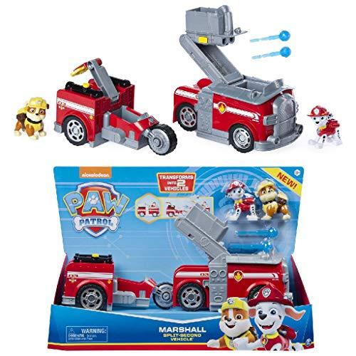 PAW PATROL 6056035 - Marshalls 2 - in - 1 - Split Second Feuerwehrauto mit 2 Figuren Marshall