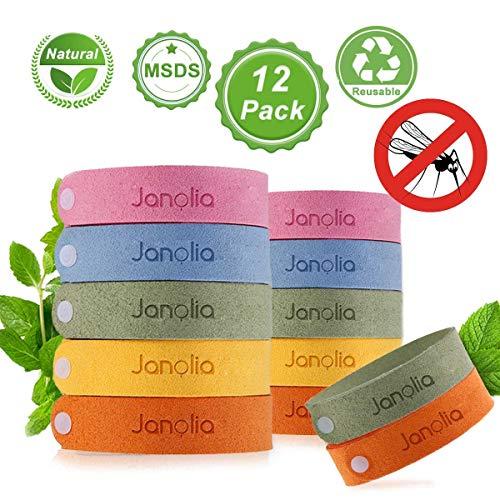 Janolia Mückenschutz Armband, 12 Stück Insektenschutz-Armband, Reusable Repellent Wristband, Sicheres...