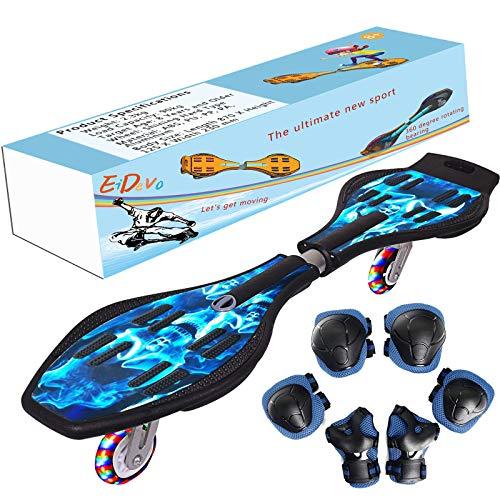EiDevo Waveboard, Double Wheel Scooter Caster Board mit LED-Blitzrad Wave Board Geburtstagsgeschenk...