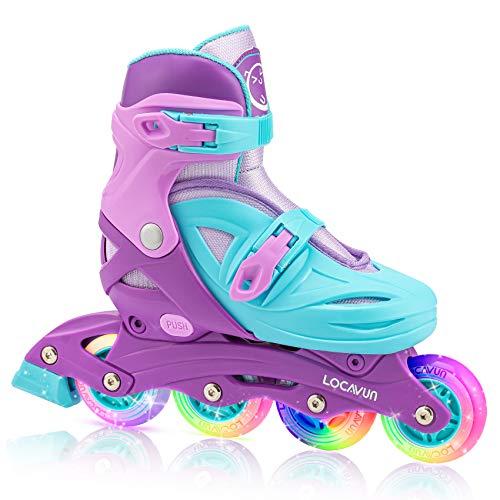 Locavun Verstellbare Inline-Skates für Mädchen, Jungen, Kinder mit leuchtenden Rädern, beleuchtete...