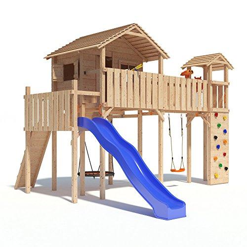 PONTICULUS XXL-Spielturm Baumhaus mit Rutsche, Schaukel, Kletterwand, Nestschaukel, Fernglas und großer...