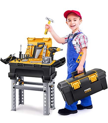 GeyiieTOYS Werkzeugkoffer Werkzeug Kinder Spielzeug Werkzeugkasten Handwerker Set Spielwerkzeug Geschenk...