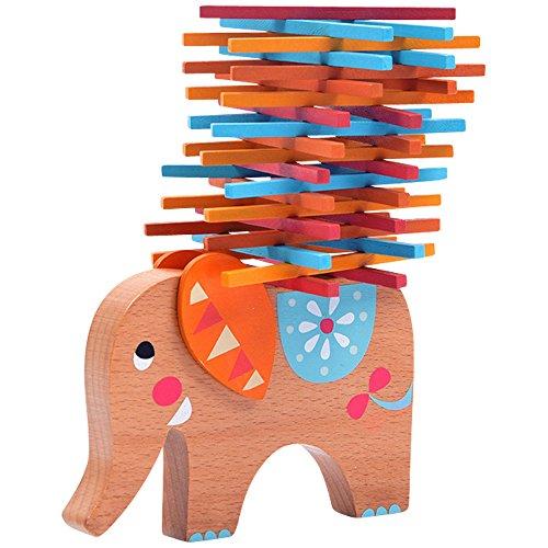 Natureich Elefant Montessori Stapel Spielzeug aus Holz zum Geschicklichkeit Lernen mit Stäbchen Bunt /...