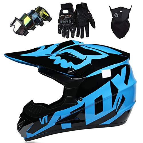 Motorradhelm Kinder Motocross Helm Set mit Brille Handschuhe Fahrradhelm Unisex Fullface Cross Helm mit...